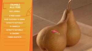 Riepilogo ingredienti per preparazione ricetta Crumble alle pere